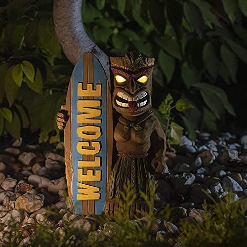 LUDAXUE Solar Powered LED Outdoor Decor Tiki Surfbrett Tribal Tiki Bar Tiki Statue Shark Biss Tiki Surfbrett Terrasse Dekor Dekor Gartenlicht mit flackerndem Fackel