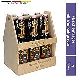 Uakeii Personalisierter Bierflaschenträger aus Holz mit Gravur -Zum selbst Gestalten- Sixpack Bierträger für 6 Flaschen 0,5L & 0,33L Geschenkidee für Frau und Mann