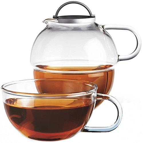 Randwyck Glas Teekanne Teeglas 1 Set Tea For One 600ml Geschenkset sehr edel mit Glasgriffen - Borosilikat Spezialglas spülmaschinengeeignet
