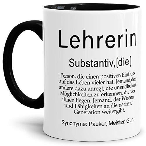 Tassendruck Tasse mit Definition Lehrerin - Wörterbuch/Geschenk-Idee/Dictionary/Beruf/Job/Arbeit/Innen & Henkel Schwarz