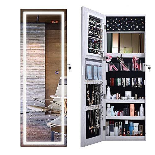 ANLW Specchio Gioielleria Touch Screen LED Luci-Indipendente Gioielli Cabinet Storage Armadio Pavimento Specchio Muro di Stoccaggio Armadio Camera da Letto Semplice Specchio Moderno (Bianco)