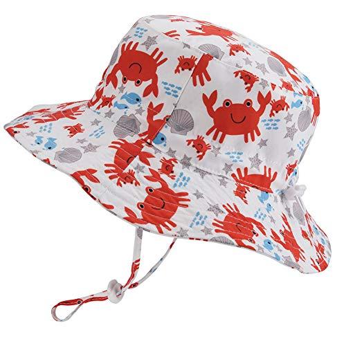 Chapéu de sol ajustável para bebês – chapéu de praia infantil para natação infantil com aba larga FPS 50+ alça de queixo para verão, Crab, 6-12 Months