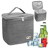 Nevera portátil de 12 litros, pequeña, plegable, para picnic, bolsa isotérmica, bolsa isotérmica, bolsa isotérmica reutilizable (gris claro)