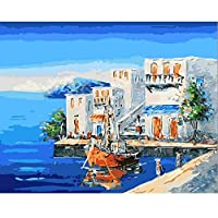 Diyのデジタル油絵子供大人初心者油絵数字キットによる絵画塗り絵 大人手塗り - 海沿いの家