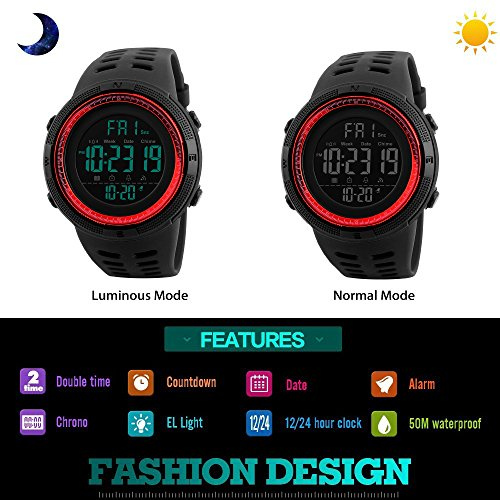 TONSHEN Men's Digital Sports Watch Waterproof 50M 164FT LED Electronic Display Outdoor 12H/24H Time Military Watch Backlight 100/1 Stopwatch Calendar Date Plastic Watch with Rubber Strap (Red)