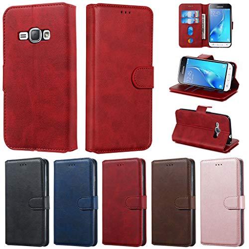 Careynoce Hülle für Samsung Galaxy J1 2016,Einfarbig Kalbsleder PU Leder Brieftasche Flip Cover - mit Magnetisch Ständer Kartenfach Schutzhülle HandyHüllen für Samsung Galaxy J1 2016 J120- Rot