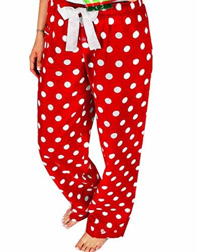 Women Polka Dot Christmas Pajamas Pants Sleepwear (Red, M), Red, Size Medium