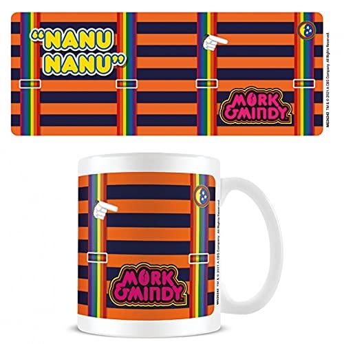 1art1 Mork Vom Ork, Nanu Nanu Regenbogen Hosenträger Foto-Tasse Kaffeetasse (9x8 cm) Inklusive 1x Überraschungs-Sticker