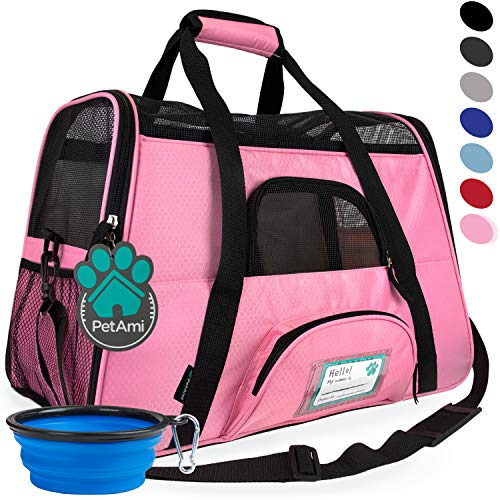 PetAmi Premium Airline Approved Soft-Sided Pet Travel Carrier | Ideal for Small - Medium Sized Cats, Dogs, and Pets | Ventilated, Comfortable Design with Safety Features (Large, Pink)