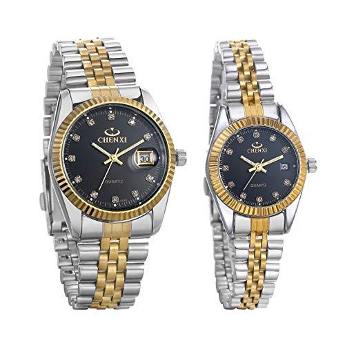 JewelryWe 2pcs Paar Uhr Analog Quarz Kalender 30M Wasserdicht Partner Armbanduhr Edelstahl Armband Herren Damen Uhren mit schwarz Strass Zifferblatt