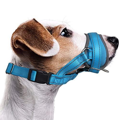 Nasjac Hund Maulkorb, Update Bequemer Verhindern Sie das Beißen Bellen Kauen Verhaltenstraining Einstellbare Soft Reflective Quick Fit Nylon Hundemundschutz für mittelgroße Hunde