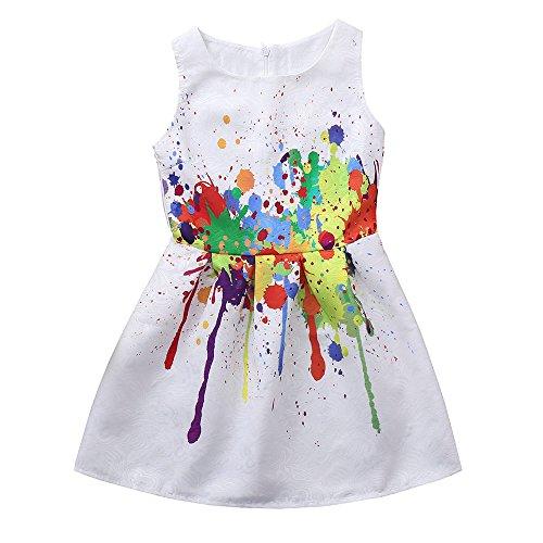 feiXIANG Ropa de niña Vestido Estampado de Flores Vestido de Princesa Vestido de Fiesta de cumpleaños Chica de Moda Fiesta de Bodas Ropa Linda Vestido Mini Ropa Bebé niña 0-3 años