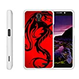 TurtleArmor | Compatible with ZTE Avid Plus Case | ZTE Avid Trio | ZTE ZFive 2 [Slim Duo] Two Piece Hard Cover Slim Snap On Case on White - Red Dragon