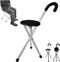 كرسي للصلاة مع عصا حديد، مناسب لكبار السن والمرضى، لون اسود
