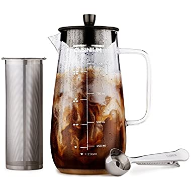 Cold Brew Iced Coffee Maker - 1 Quart Iced Brewed Tea Maker - Glass Coffee Carafe - Fruit infuser pitcher - Includes Scoop & Clip Spoon