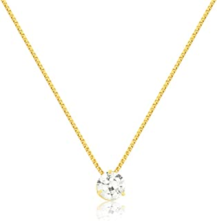 18k Solid Yellow Gold Round White Synthetic Cubic Zircon 6 mm Necklace for Women and Girls