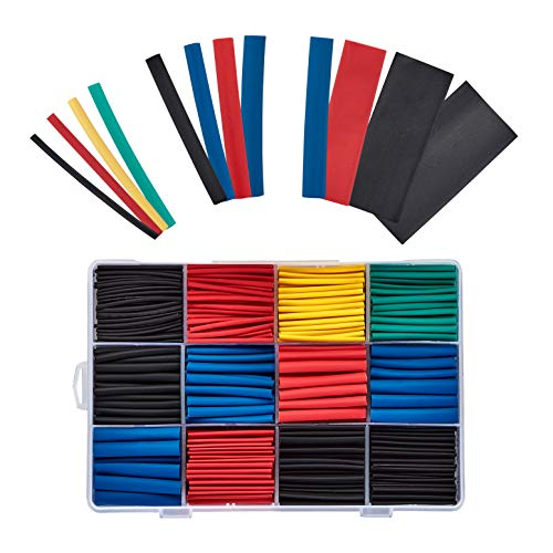 BAURIX® Schrumpfschlauch Set 850 Stück I Schrumpfschläuche Sortiment Farbig I 2:1 Schrumpfverhältnis I Isolierschlauch für Kabel I Schrumpfschlauchset