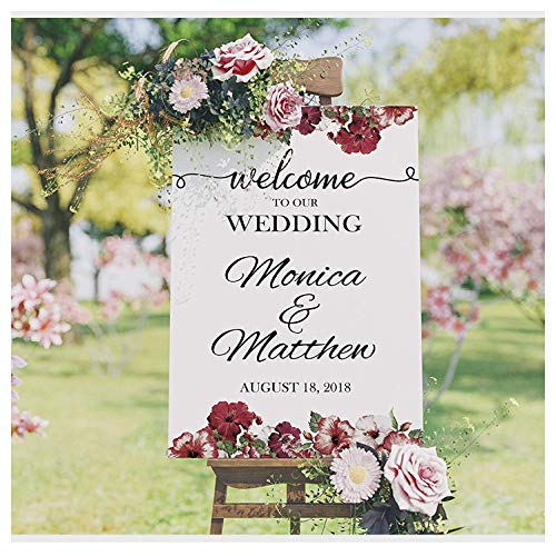 SPEEDYORDERS - Floral Welcome Wedding Sign, Wedding Reception Banner, Welcome to Our Wedding, Custom Wedding Names Poster, Handmade Party Supply Poster Print, Sizes 24x18, 36x24 and 48x36
