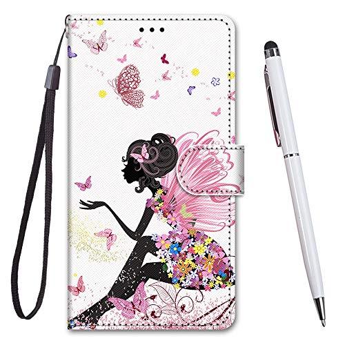 TOUCASA Cover per Huawei Mate 20 Lite,Flip Caso Custodia [Creativo Dipinto] PU Pelle Portafoglio Unico Sottile Funzione TPU Antiurto Flip Cover a Libro per Huawei Mate 20 Lite (Butterfly Girl)