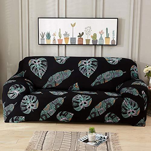 Bedruckte Sofabezug L form Rechts mit hoher Dehnung und Kissenbezug, Sofabezüge für Hunde,Sofabezug 1 2 3 4 Kissen, elastischer weicher Sofa,rutschfester Bezug Möbelschutz für Wohnzimmer(schwarz)(