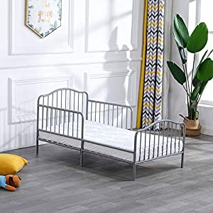 Bonnlo Metal Toddler Bed Frame with Guard Rail, Gray