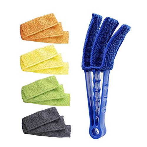 Window Blind Cleaner Duster Brush With 6 Microfiber Duster Sleeves Blind Wood Cleaner For Car Window Shutters Ceiling Fan Duster Air Conditioner Window Blinds For Cleaner Tools