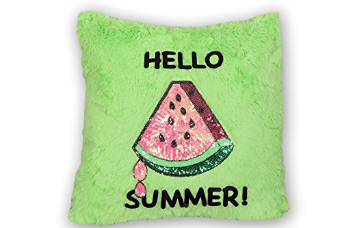4ngels.usa by home DECORATIVE PILLOW CUSHION COVERS HELLO SUMMER PILLOW CASE TROPICAL SWEET PARTY 18'x 18'/45 cm x 45cm THROW PILLOW COVERS(GREEN/WATERMELON)