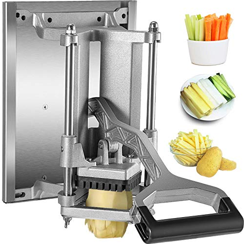 VEVOR Commercial French Fry Cutter 3/8 Inch Blade Potato Fry Cutter Wall-mounted or Tabletop Potato Cutter with Wall Bracket for Potatoes Carrots Cucumbers