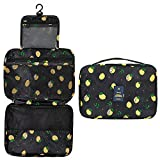 Travel Makeup bag,Portable Toiletry Cosmetic Make up Organizers for All Full Sized Container, Toiletries Bag Black Lemon