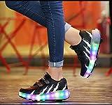 dududrz Zapatillas De Deporte LED Zapatos De Skate con Ruedas Zapatillas De Deporte De Entrenamiento Deportivo Al Aire Libre,Black-40