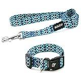 azuza Dog Collar and Leash Set, Adjustable Nylon Collar with Matching Leash, Blue Diamond for Small...