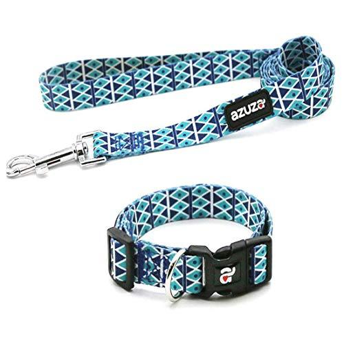 azuza Dog Collar and Leash Set, Adjustable Nylon Collar with Matching Leash, Blue Diamond for Small Dogs