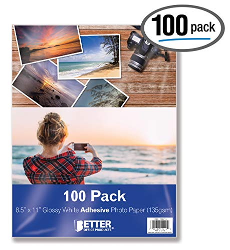 Self-Adhesive Photo Paper, Sticky Photo Paper, Glossy, 8.5 x 11 Inch, 100 Sheets, by Better Office Products, 135 gsm, Letter Size, 100 Count Pack