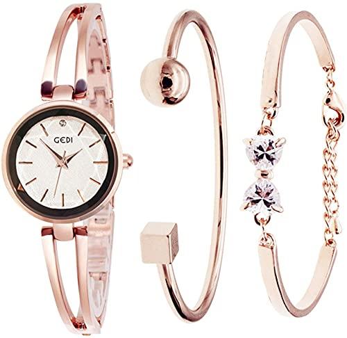 GEDI レディース 腕時計 ブレスレットウオッチ ブレスレット風 スワロフスキー (A-ローズゴールド & 白)