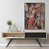 WKAQM Mujer Tocando Mandolina por Pablo Picasso Lienzo Pared Arte Galería Sala de Estar Habitación Cuadro Pared Decoración Famoso Póster Impresiones Resumen Pared Pintura Sin Marco