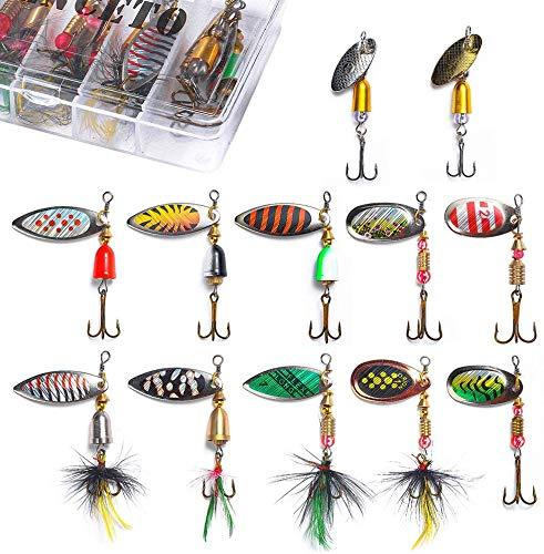 HENCETO Fishing Lure Spinner Bait, 12-30 pcs Hard Metal Fishing Spoon...