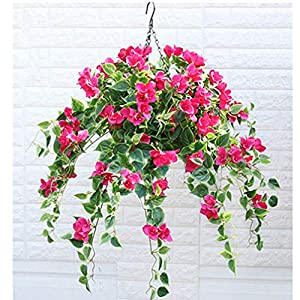 Mynse Hanging Flowerpot with Artificial Bougainvillea Glabra Flowers Indoor Decoration