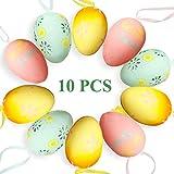 Decorazione di Pasqua: la decorazione perfetta per la Pasqua. Puoi mettere il prodotto in un cestino o decorarlo su un ramo. Sia all'interno che all'esterno, la Pasqua è decorata con colori vivaci. Vivace e alla moda: 10 uova di Pasqua di macaron, ve...
