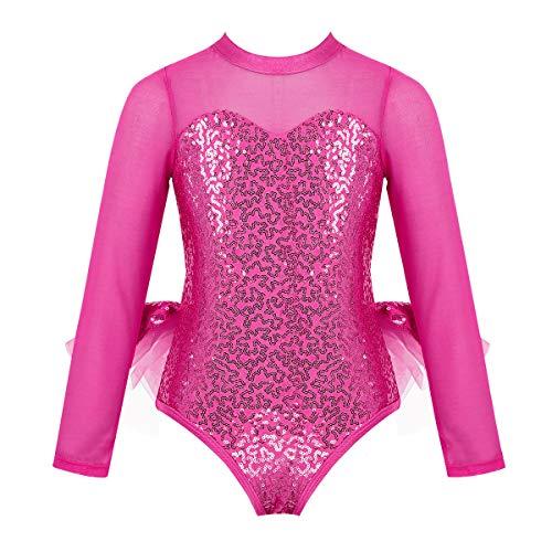 inhzoy Maillot de Danza Ballet con Volantes para Niña Leotardo de Gimnasia Rítmica Lentejuelas Manga Larga Body de Patinaje con Falda Traje Baile Rosa Roja 4 años