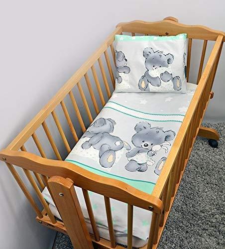 2 Stück Baby Kinder Quilt Bettdecke & Kissen Set 80x70 cm passend für Kinderbett oder Kinderwagen Muster 25