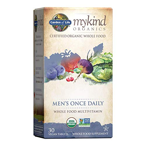 Garden of Life Multivitamin for Men - mykind Organic Men's Once Daily Whole Food Vitamin Supplement Tablets, Vegan, 30 Count *Packaging May Vary*