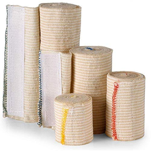 Hook and Loop Closure Elastic Bandage Wraps - Premium Variety Pack of 4, 2 3 4 6 inch x 5 Yards per Roll - Latex Free Reusable Compression Stretch Roll for First Aid, Medical, & Sports Injury Recovery