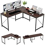 Bestier L-Shaped Gaming Desk, 95.2' Two Person Large Computer Office Desk, Adjustable L-Shaped or Long Desk with Free Monitor Stand, Home Writing Desk Table Build-in Cable Management, Walnut Brown