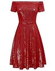Red Sequin Short Sleeve Off Shoulder Pleated A-Line Dress