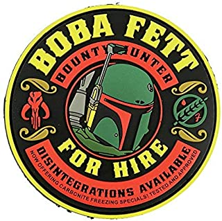 Patch Panel Boba Fett Bounty Hunter for Hire PVC Tactical Morale Patch - Perfect Hook Backed Patches to be Added to Uniforms, Jackets, Backpacks