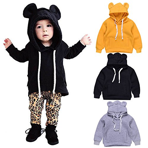 LNGRY Infant Baby Boy Girl Kids Clothes Bear Hoodies Sweatshirt Coat Tops Outfit (12-18 Months, Black)