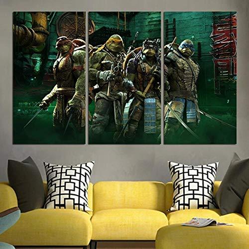 Frames,Cuadro En Lienzo 3 Partes-Panorámico,Cuadro Impresión,Cuadro Decoración,Canvas 50Cmx70Cmx3(Marco),Regalo Creativo,Pared Arte,Salón Decoración Tortugas Ninja 2014