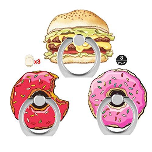 ZOEAST(TM) - Confezione da 3 supporti ad anello universali regolabili a 360°, compatibili con iPhone X Plus Samsung iPad Tablet Donuts Hamburg