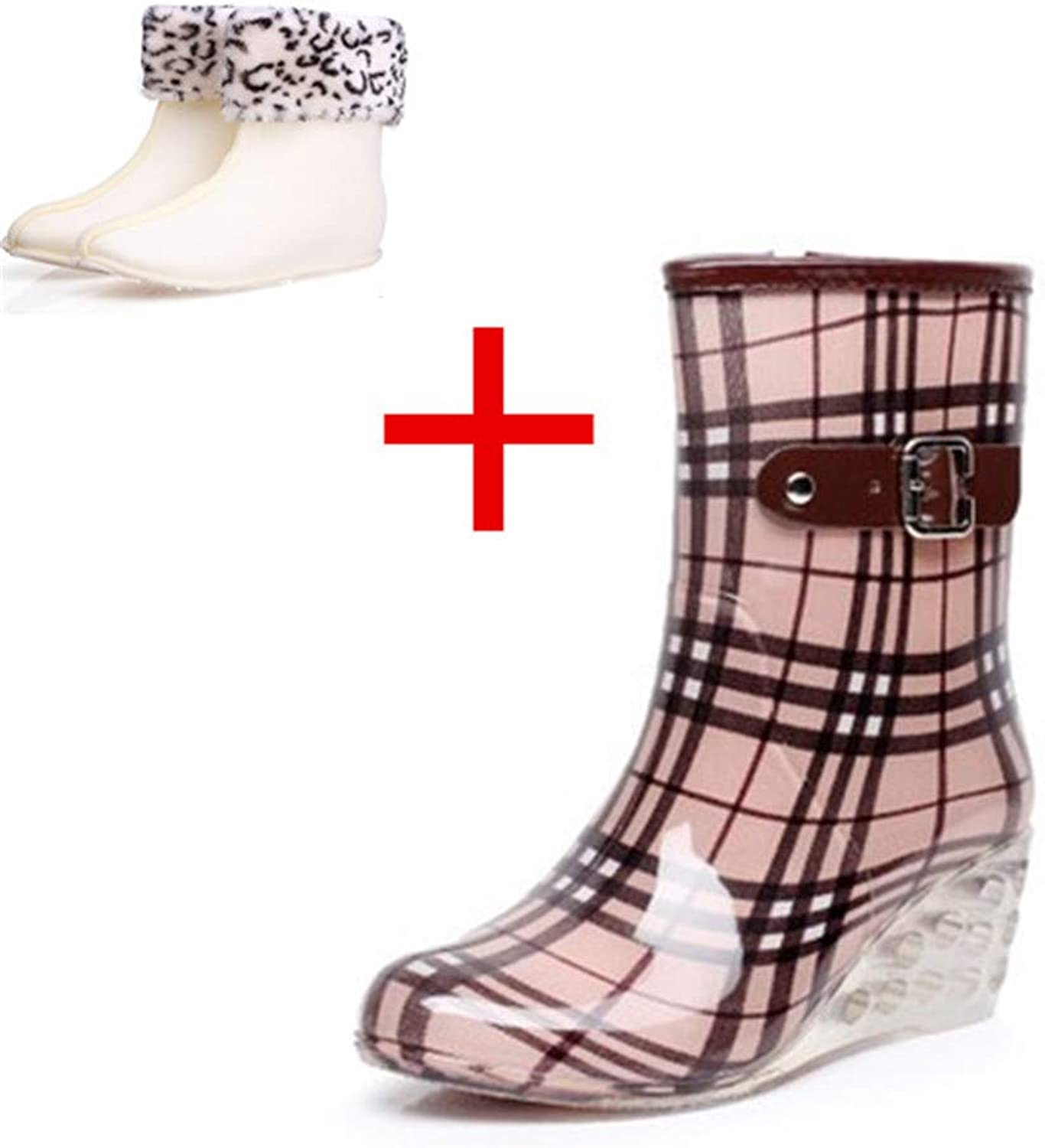 Women's Waterproof Rain and Garden Boot with Comfort Insole Black White Polka Dot