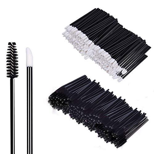 200 Stück Make-up Tool-Kits Einweg Lippenpinsel Stick Schwarz Einweg WimpernbürsteTägliche Make-Up Pinsel Sets